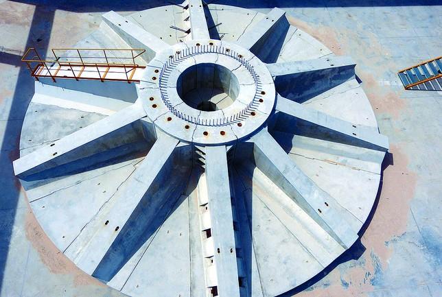 Cimentación prefabricada para torre eólica de la empresa Artepref. Fuente: Diario de Burgos