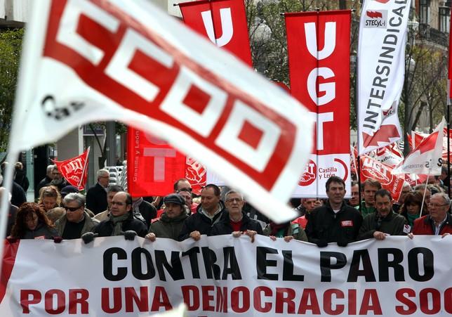 Manifestación contra el paro en Valladolid. Ical