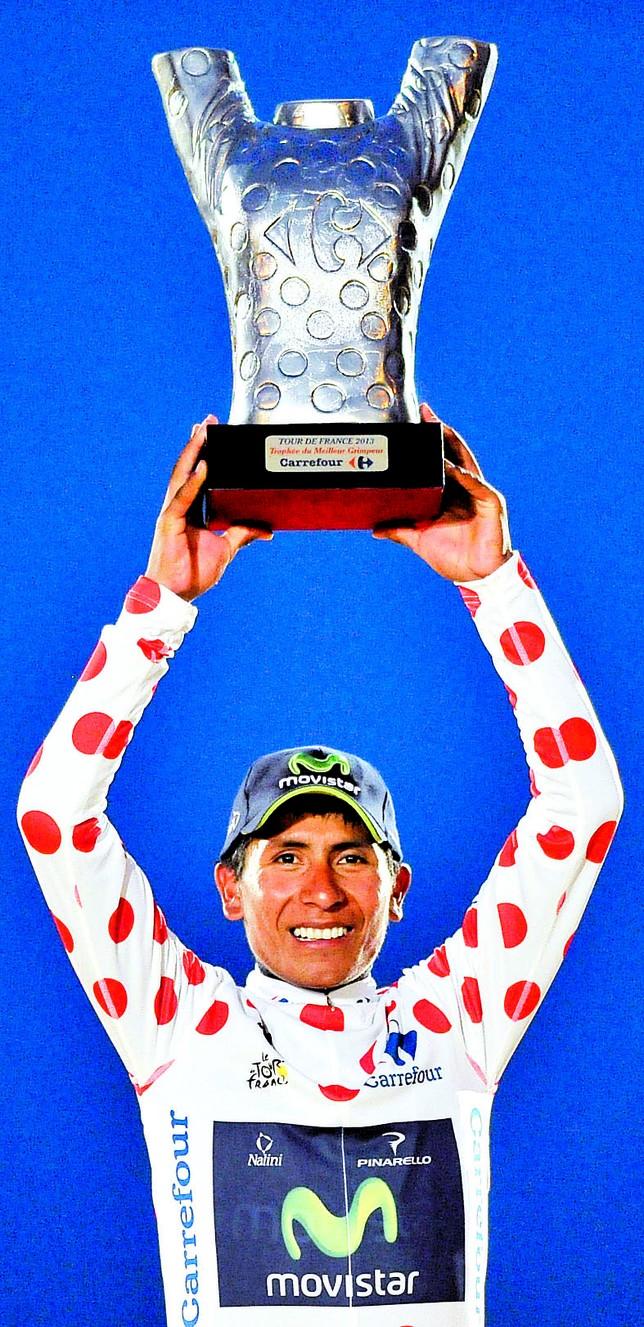 Nairo Quintana, en el podio del Tour de Francia. EFE