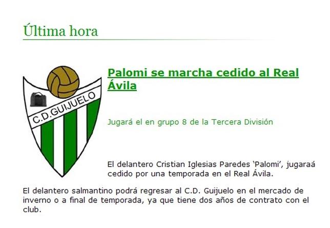 El Guijuelo confirma la cesión de Cristian Iglesias 'Palomi' al Real Ávila