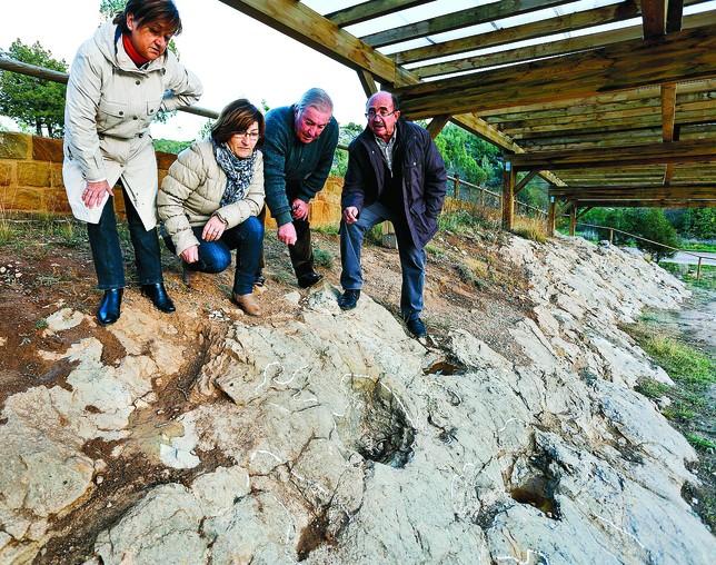Vecinos de Mambrillas de Lara, en el yacimiento de La Pedraja, observan algunas huellas fósiles encontradas en los años 80. Luis López Araico