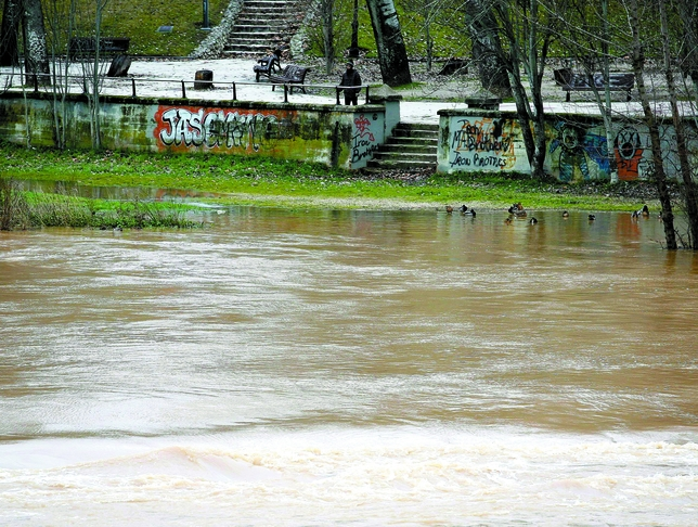 Caudal del río Pisuerga durante la jornada de ayer.  Ical