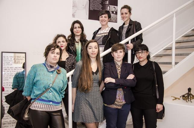 Las artistas que participan en la muestra colectiva de la sala experimental de la Casa Zavala, ayer, en la inauguración.  Robayna