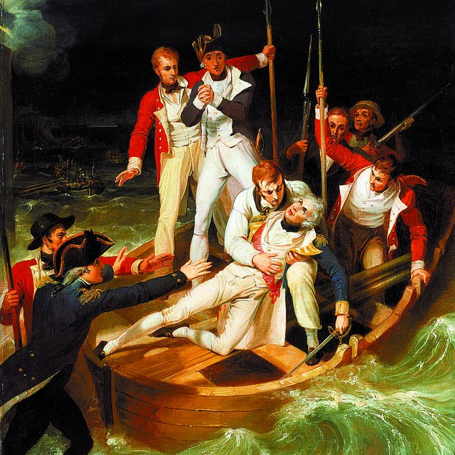 Nelson yace herido en una barcaza. Obra de Richard Westall. Museo Marítimo de Londres.