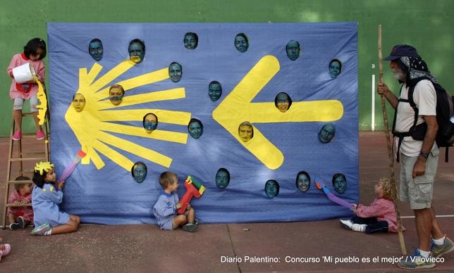 Los pequeños artistas pintan el Camino de Santiago a su paso por Villovieco, como un reflejo de su ancestral tradición jacobea y del gran futuro que tiene por delante.
