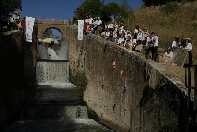 RIBAS DE CAMPOS: Gran día de pesca en aguas del canal  Todos querían ver la gran pieza caída en las redes de los pescadores
