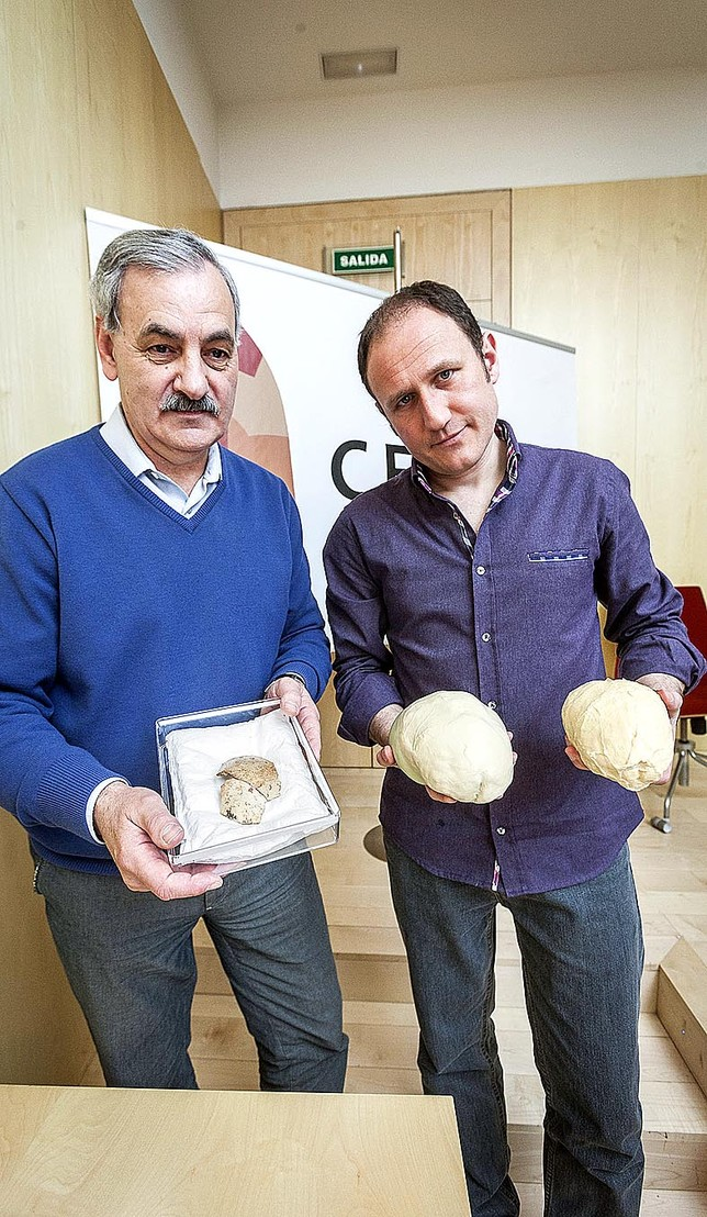 Bermúdez de Castro y Bruner con el parietal y los moldes de Maba (i) y Buia. Alberto Rodrigo