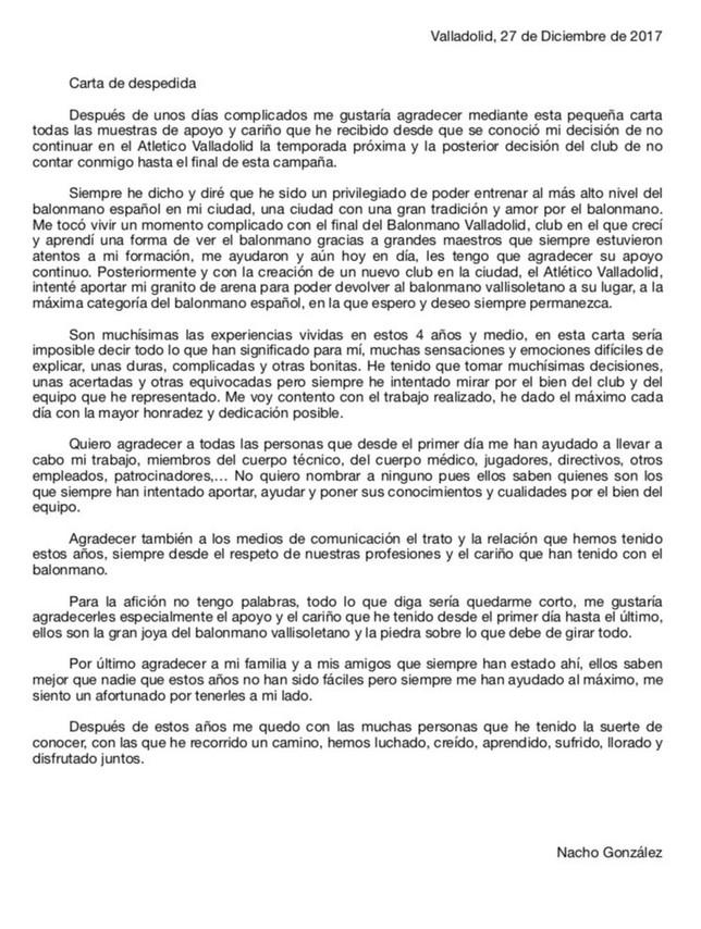 Despedida de Nacho González