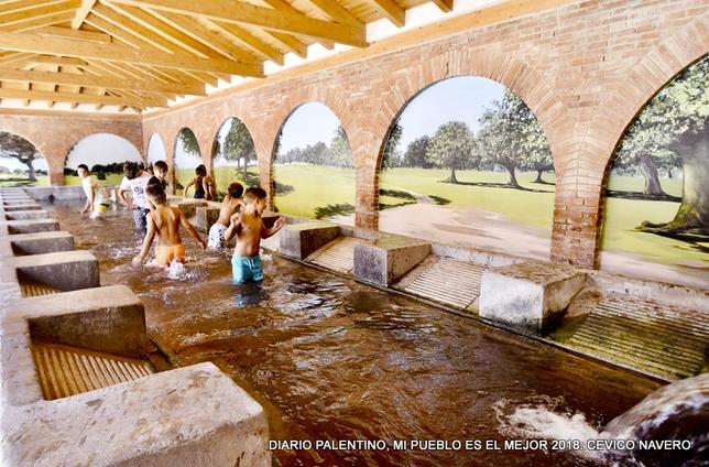 Cevico intenta compaginar el patrimonio de sus antepasados con la naturaleza y el agua vital, con la cultura que magnifican sus encinares y el futuro, que simbolizan los niños. Foto: Pablo Calvo