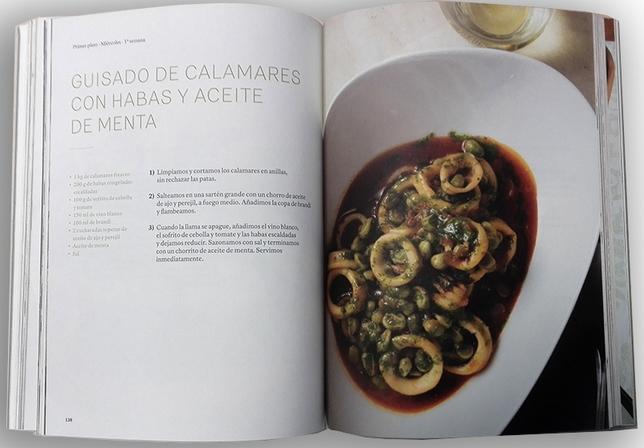 Guisado de calamares con habas y aceite de menta