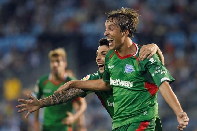 Pina celebra el tanto marcado ante el Celta de Vigo.