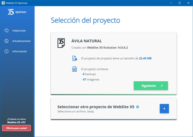 Optimizando. Primer paso: Importación del archivo website