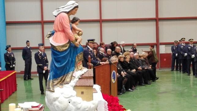 Imagen de la alocución de Juan Manuel Pablos Chi, durante la celebración de la Virgen de Loreto.