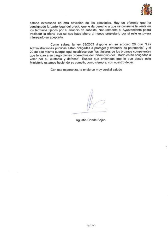Carta íntegra de Defensa por Artillería