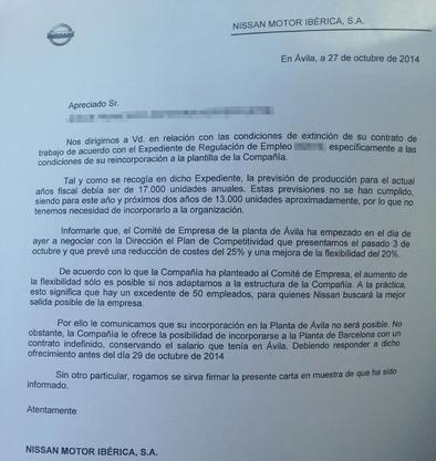 Nissan confirma en una carta que no readmitirá a los 17 trabajadores en ERE