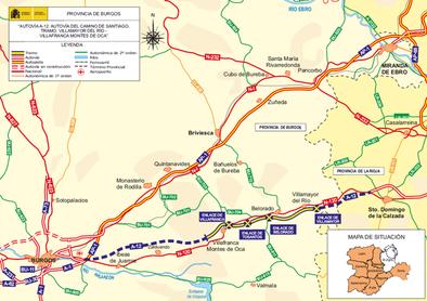 Fomento saca a información pública el tramo de la A-12 entre Villamayor del Río y Villafranca de Montes de Oca