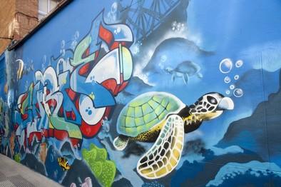 Arte plasmado en lienzo urbano