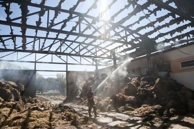 Un incendio quema 1.000 kilos de paja en la granja del IES San Isidro