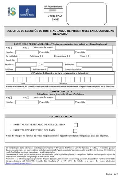 El Sescam publica el formulario para solicitar hospital en Madrid