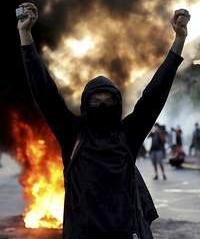 Un manifestante, durante la última concentración en Santiago.