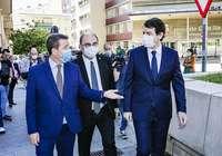 (I a d) Emiliano García-Page, Javier Lambán y Alfonso Fernández Mañueco, hace semanas antes de su encuentro en Soria