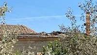 Desplome de parte del tejado del santuario de Alconada