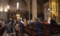Primera misa en La Redonda, en Logroño después del confinamiento