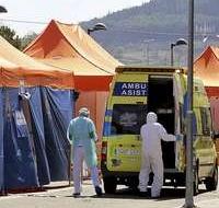 Carpas de triaje para enfermos en el Hospital de Valladolid.