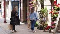 Comercio de flores en una vía peatonal de Logroño