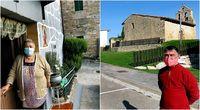 A la izquierda: Justa junto al portal de entrada a su casa de Virués, donde se refugia de la covid-19; a la derecha: Benjamín Alonso, responsable del campo de golf de Villarías, ante la iglesia y la urbanización.