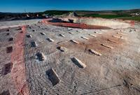 Las hileras de la plantación, posiblemente viñas, se interrumpe en la zona sobre la que ya se ha echado cemento (al fondo) y en la que irá el aerogenerador (dcha.).