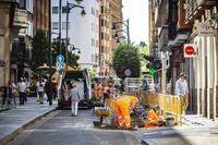 Calle en obras en Valladolid