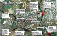Localización de las zonas de botellón más conocidas en Miranda.