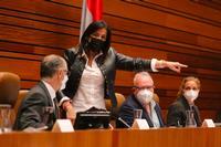 Ana Sánchez señala con el dedo a la consejera de Sanidad momentos antes de ser expulsada del Pleno.