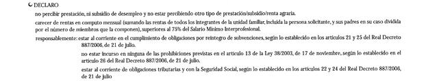 Imagen 3: Parte de la tercera hoja de una solicitud tipo del Plan Prepara descargada del BOE en la que se declara que no se perciben rentas. Vanesa Guzón firmó que así era