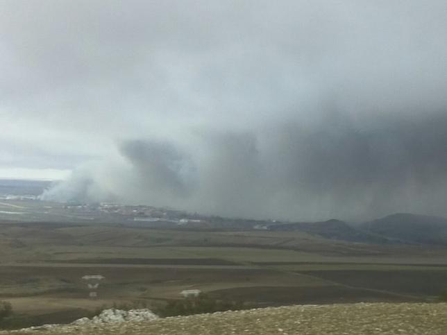 A las 9.00 horas de la mañana la nube se veía de esta forma desde Rubena. Valdivielso