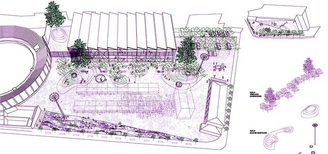 Boceto de la propuesta ganadora que apuesta  por una intervención de mínimos y mantener el área sin geometrías ajenas.