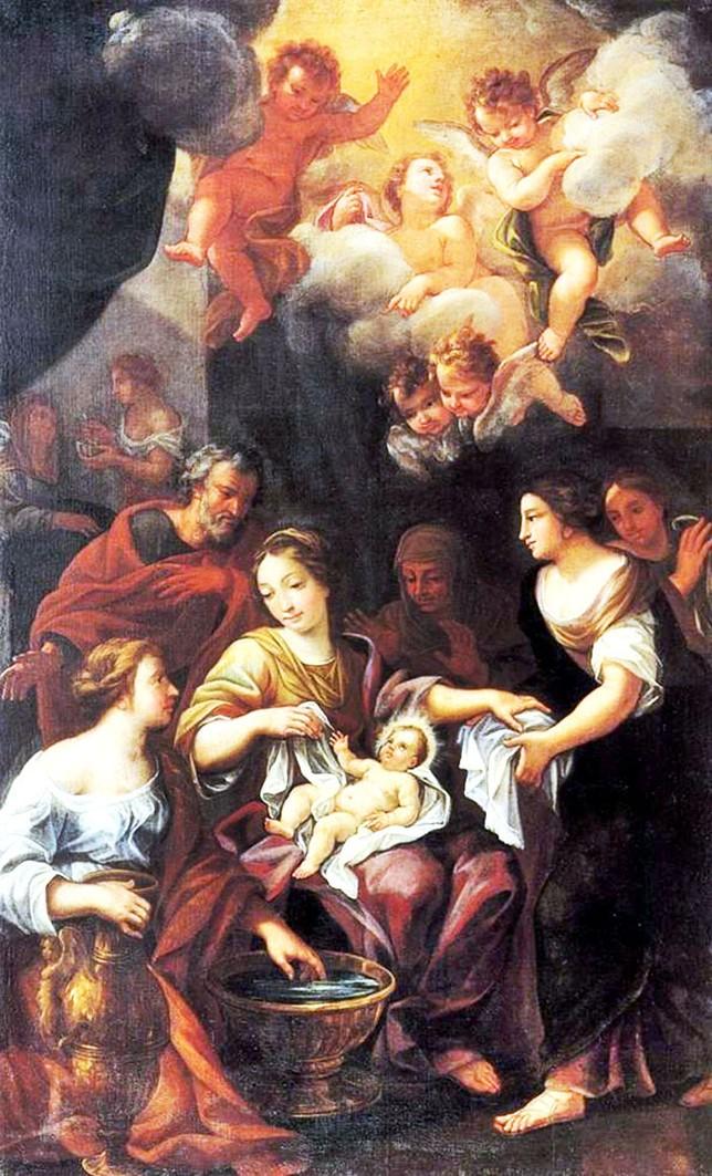 Nacimiento de San Juan Bautista. Del entorno de Giovanni Odazzi. Datada en el primer tercio del siglo XVIII, se trata de un óleo sobre lienzo que pertenece a la capilla de Santa Tecla de la Catedral.