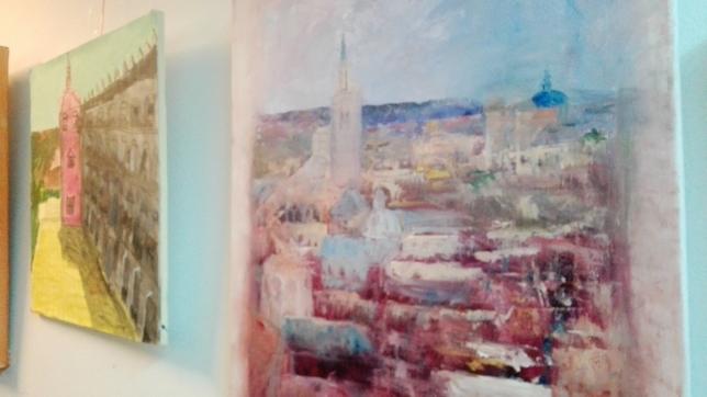 El tercer premio en pintura rápida ha recaído en María del Carmen Espinosa Ureña por su trabajo 'Toletum' (a la derecha).
