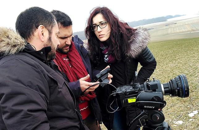 El director Pablo Moreno (c.) junto a Rubén Ortega y la burgalesa María Esparcia, primera de dirección.