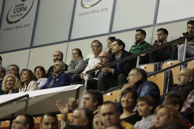 Imagen del palco del Quijote Arena, con presencia del seleccionador nacional, Jordi Ribera TOMÁS FERNÁNDEZ DE MOYA