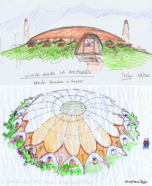 Dibujos del proyecto de la 'casa impluvium' realizada en Sepúlveda D.S.