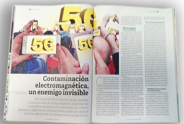 Los invisibles peligros del 5G, en páginas interiores de ecolgista