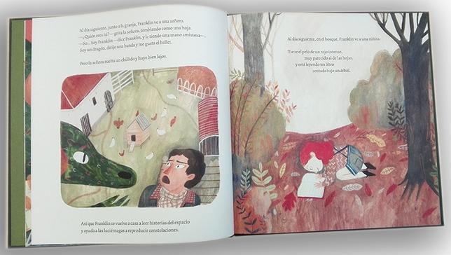Páginas interiores del Libro de Blume, La librería voladora de Franklin