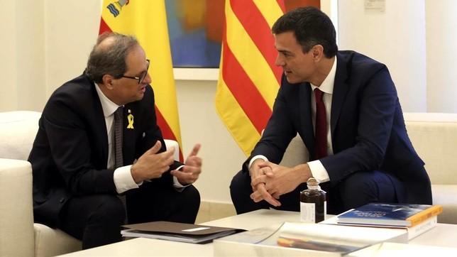 Pedro Sánchez y Joaquim Torra se reunirán mañana a solas DAVID CASTRO