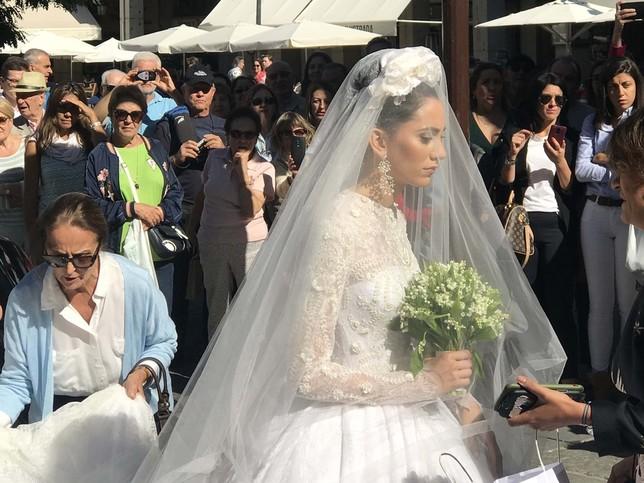 La novia a su llegada al templo