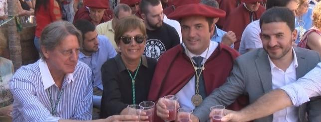David Palacios en una de las fiestas anuales que celebran los vinos Navarra