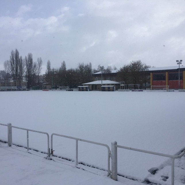 Uno de los campos de Mutilnova cubierto por la nieve @UD_Mutilvera