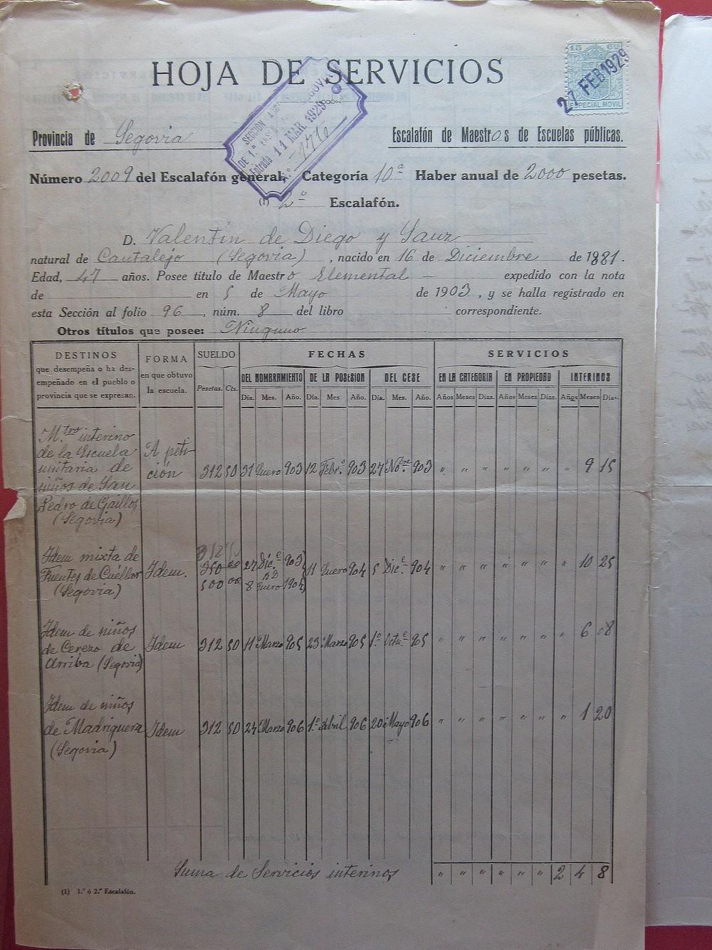 Expedientes de profesores de Segovia de todo el siglo XX