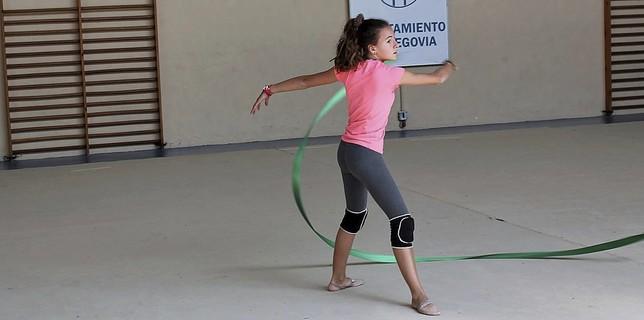 Micaela Blanco, durante un ensayo del ejercicio que realiza en solitario.